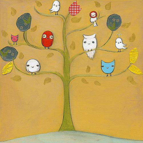 Owl friends & a bird