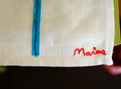 Tea towel signature