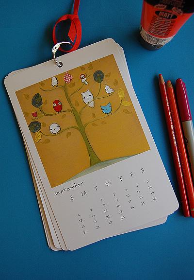 Calendar on blue