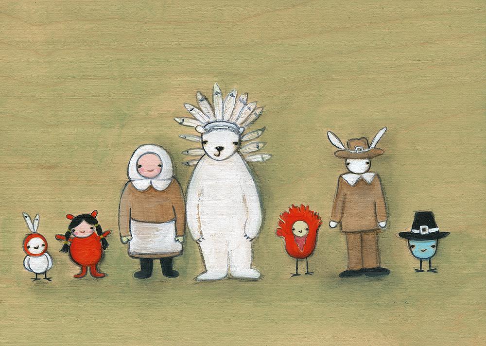 The gang celebrates thanksgiving