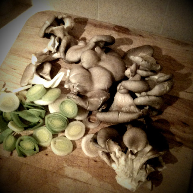 Oyster mushrooms & leeks