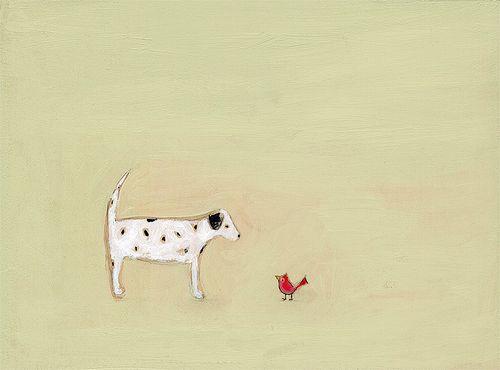 Dalmatian and the cardinal