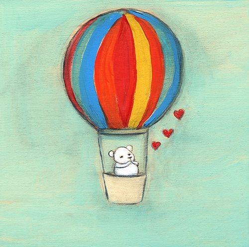 A bear blows you kisses from a hot air balloon