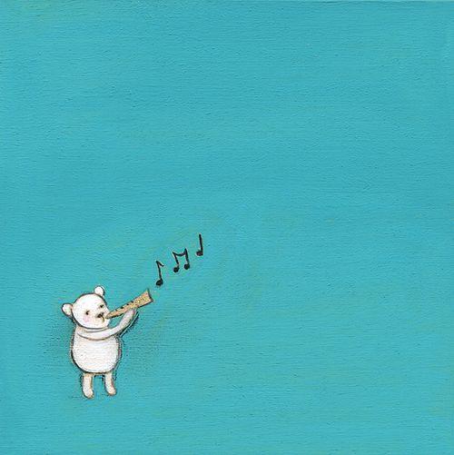 A bear plays a tune
