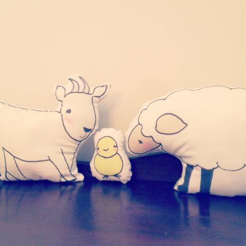 Goat peep sheep pillow