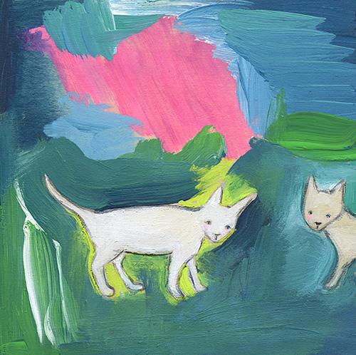 Kittens love abstract art