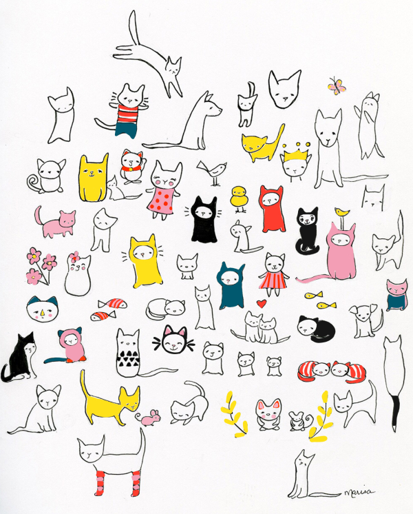 I heart cats pink yellow red